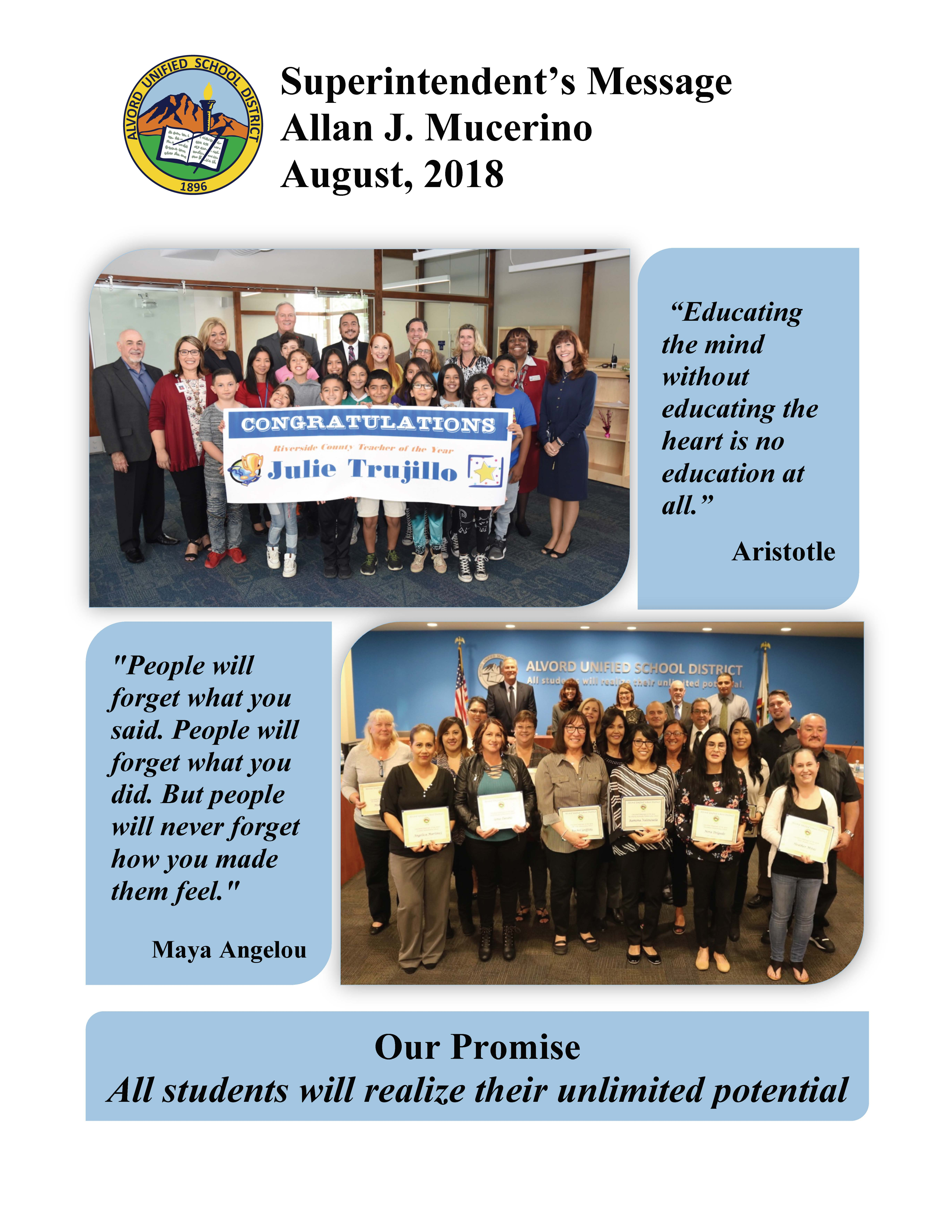 Superintendent of Schools / Welcome Message to Families
