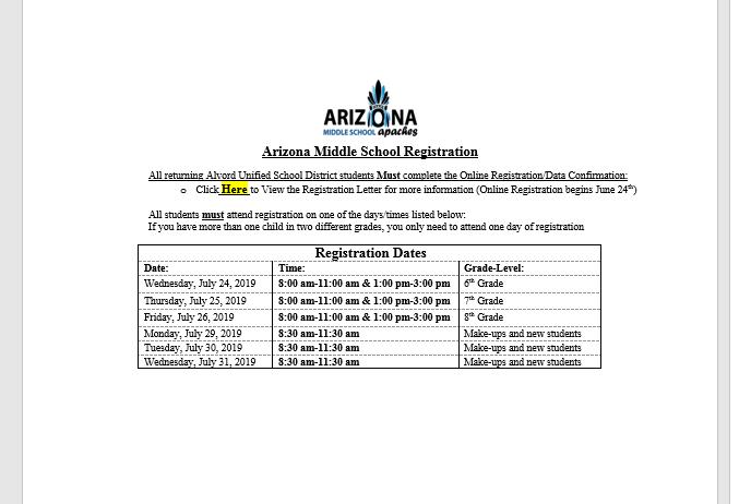 Arizona Middle School / Arizona Homepage